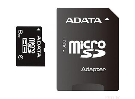 MEMORIA MICRO SDHC 8GB + ADAPT ADATA CLASS 4