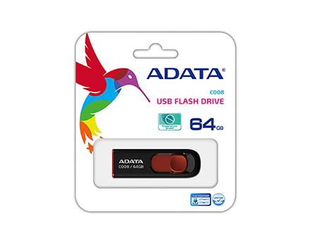 PEN DRIVE 64GB ADATA RECTRACTIL AC008 2.0 NG/ROJO