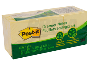 NOTA ADHESIVA 3M GREENER POST-IT 653 AMAR X 12