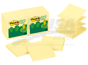 NOTA ADHESIVA 3M GREENER POST-IT 330 12 UN POP-UP