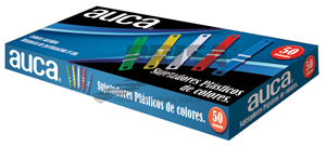 ACCOCLIPS PLASTICOS COLORES X 50 UN AUCA