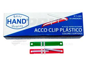 ACCOCLIPS PLASTICO COLORES 50 UNID. HAND